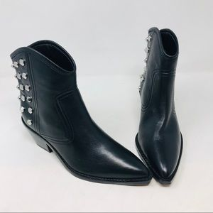 Marc Fisher Black Leather Ankle Boots Studs Silver